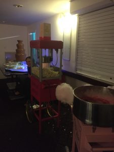 Picture of chocolate fountain, popcorn & candy floss cart
